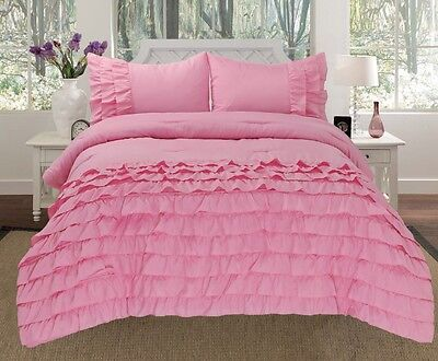 Katy 3 Piece Mini Ruffle Comforter Set Bed Cover New Arrival All Size Rose Pink 3 Piece Mini Comforter