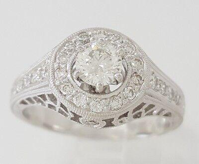 0.75 ct 18K White Gold Round Diamond Halo Engagement Ring GIA Rtl $2,700 2