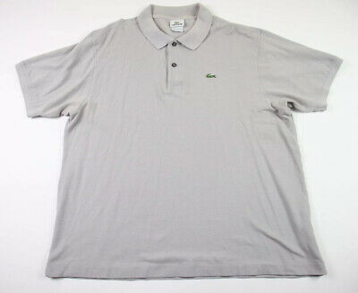 Lacoste XL Polo Shirt S/S Gray Croc Logo 100% Cotton Mens Size 7