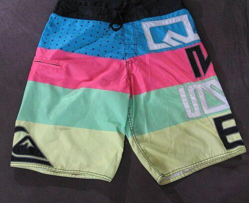 Vintage Quiksilver Neon Striped Board Shorts Size 32 Swim Surf Trunks Men