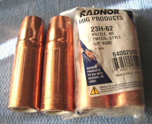 """4 Radnor MIG 23H-62 Nozzles Tweco Style Copper 5/8"""" Bore 64002550 2-PKGS of 2"""