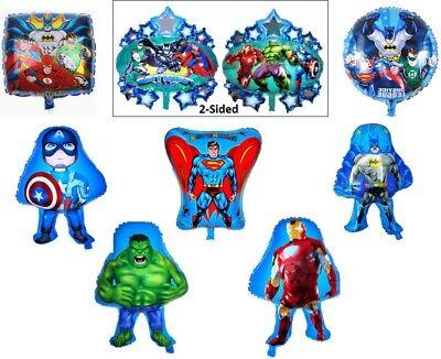 8 FOIL BALLOON SUPERHERO SUPERMAN BATMAN CAPTAIN HULK IRON-MAN HAPPY BIRTHDAY