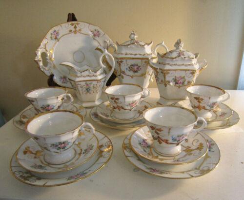 Antique Floral Old Paris Tea / Luncheon Set Rococo Style