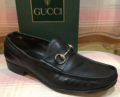 Vintage GUCCI 10.5 Silver Horse Bit Black Leather Loafers