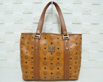 100% Authentic MCM Visetos Cognac Large Shopper Bag