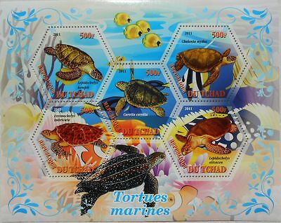 SEA TURTLES REPTILES TURTLE S/S HEXAGON SHAPE STAMPS TCHAD 2011 MNH TCHAD2011-38