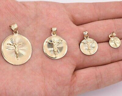 Crucifix Jesus Round Medallion Diamond Cut Charm Pendant Real 10K Yellow -