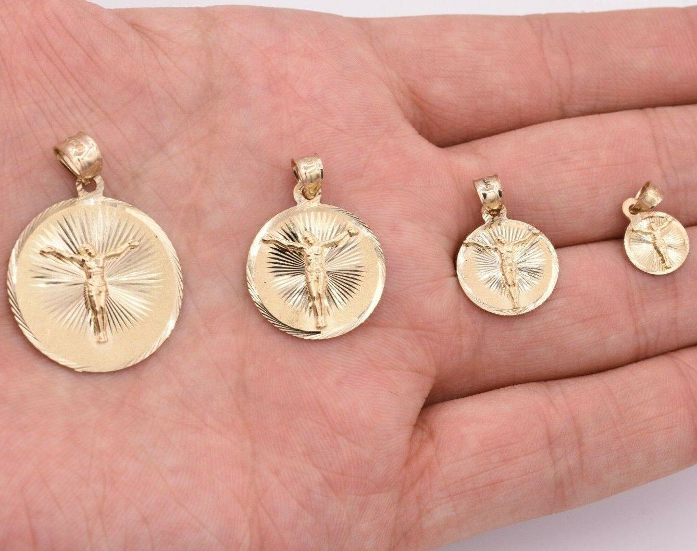 Crucifix Jesus Round Medallion Diamond Cut Charm Pendant Real 10k Yellow Gold Ebay