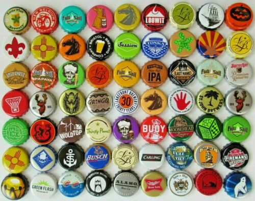 500 (Mixed) *assorted* Beer Bottle caps, DENT-FREE, Unique Colorful Blend