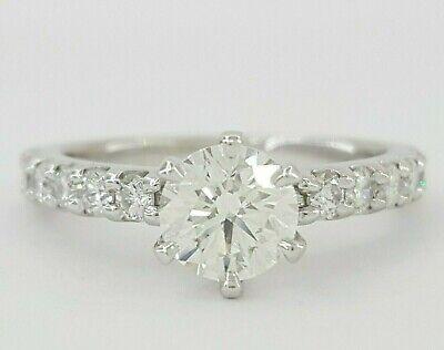 1.10 ct Platinum Ideal Round Cut Diamond Engagement Ring GIA G / VS1