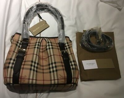 Check Small Tote - Burberry Haymarket Small Check Northfield Tote chocolate color NWT Authentic
