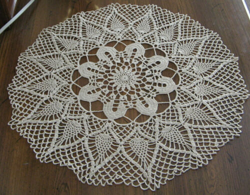 """New Hand Crocheted Precious Pineapple Round Doily 14"""" Color Natural Handmade US"""