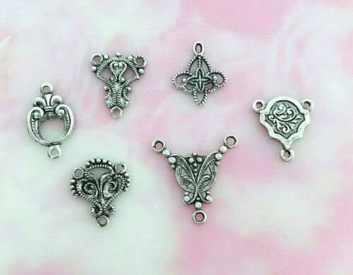 ANTIQUE SILVER (6 Pieces) Delicate Filigree Connector Stamping ~ Finding (E)