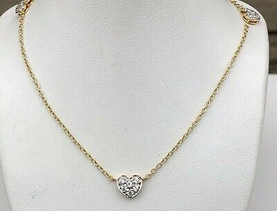 14K GOLD CUBIC ZIRCONIA HEART STATION ANKLET 10
