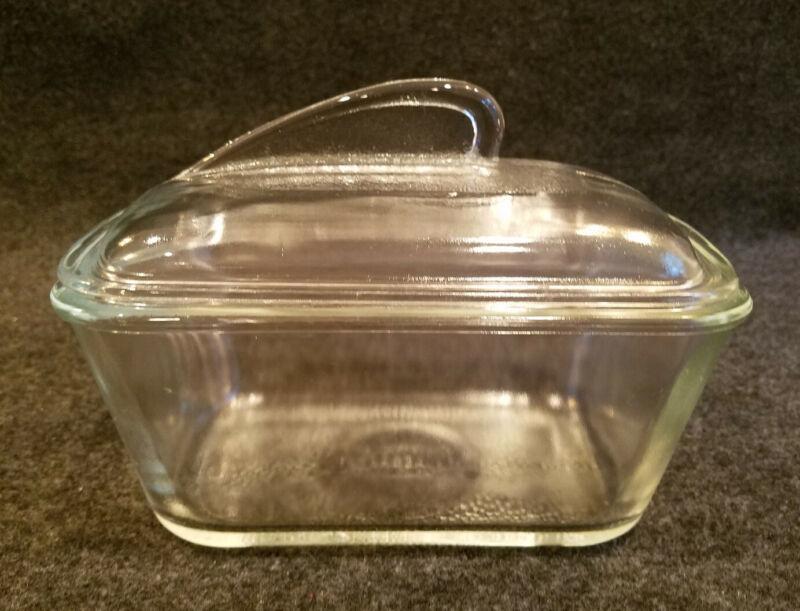 Vintage Glasbake 1-1/2Qt.Covered Loaf Pan Clear Ovenproof Glass
