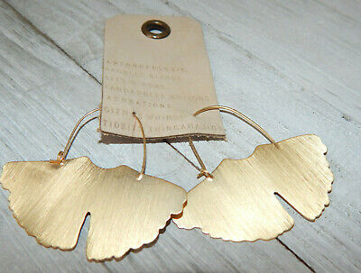 EARRINGS ANTHROPOLOGIE BRUSHED GOLD BUTTERFLY WINGS HOOK DANGLE NWT $48