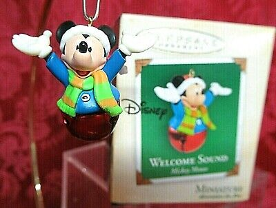 HALLMARK 2004 MINIATURE MICKEY MOUSE BELL ORNAMENT~WELCOME -