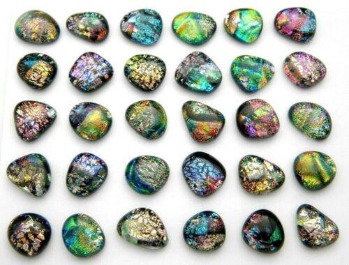 MULTI COLORS lot 30 pcs DICHROIC FUSED GLASS pendant (BJ19) CABOCHON MOSAIC TILE
