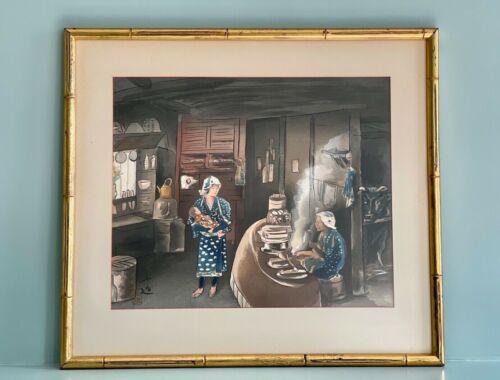 Vintage Framed Japanese Woodblock Print, Farm Kitchen by Sanzo Wada (1883-1967)