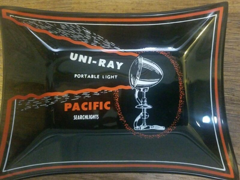 Vintage Advertising Pacific Searchlights Uni-Ray Portable Light Plate / Ashtray