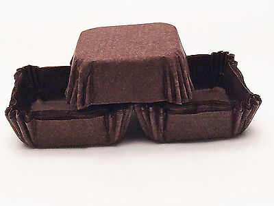 Paper Cupcake Baking Cups (48 Square 1.5 in Brown Recycled Paper Cupcake Liners Brownie Candy Baking)