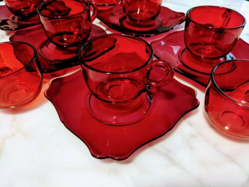 14 pieces Cambridge Glass #3400 Carmen Deep Red Saucers w Married Cups Sets