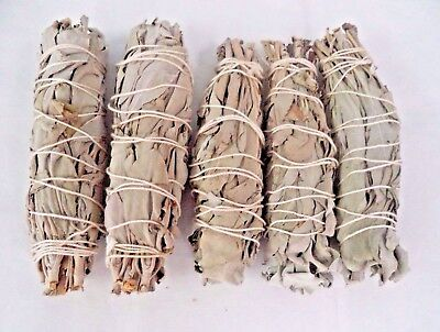 5 X White Sage Smudge Stick   Wands  4 To 5   House Cleansing Negativity Removal
