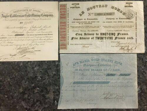 Three California Gold Rush Mining Stocks from the 1850