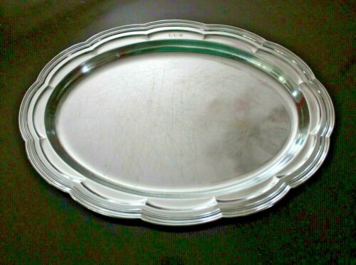 "TIFFANY & Co. 16"" OVAL SILVER PLATE SERVING TRAY/PLATTER CLASSIC ""MAKERS"" #411"