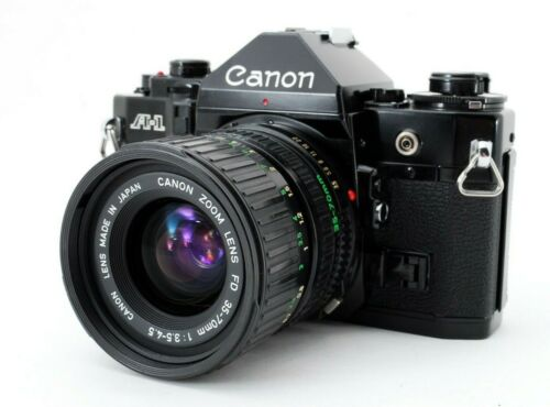 EXC+5 Canon A-1 Black 35mm + Zoom New FD NFD 35-70mm f/3.5-4.5 from Japan