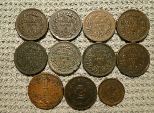 MEXICO 11 OLD COINS 1833 - 1906