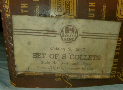 8 Steel South Bend Lathe round  Collete Set Style 3 No 2047 With Original Box