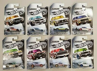 Hot Wheels 2018 50th Anniversary Zamac Flames Walmart Exclusive Lot Full Set (8)