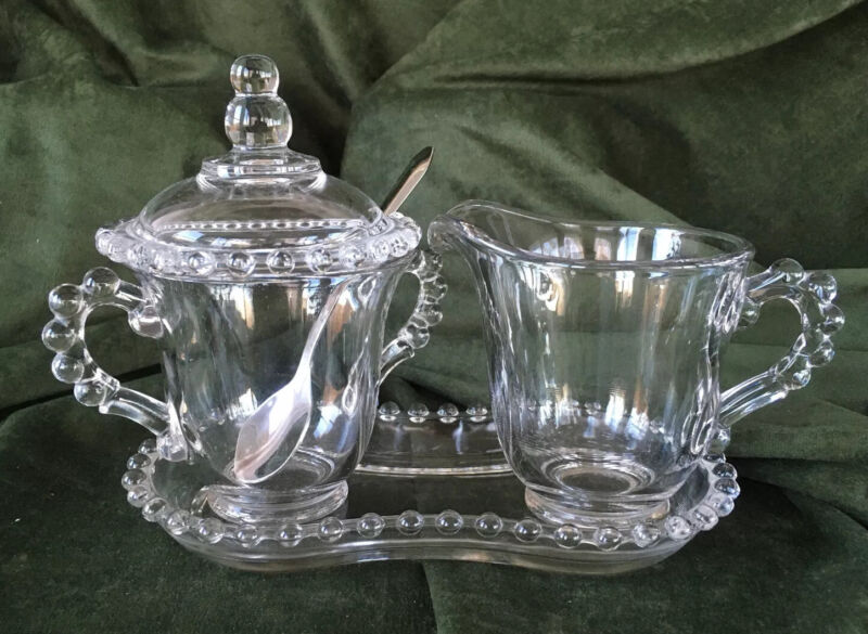 Vintage Imperial Glass - Candlewick - Sugar w/Lid, Creamer and Tray Set - NICE!