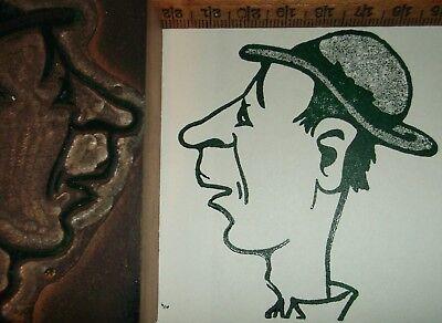 Antique Funny Looking Cartoon Gentleman Zinc Cut Printing Letterpress Vintage