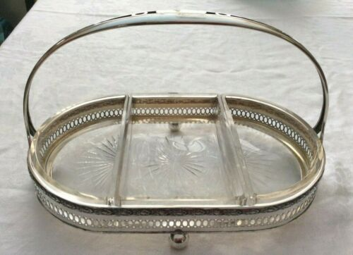 Antique Schnauffer Dresden .800 Silver Serving Tray Glass Sectional Dish Bowl