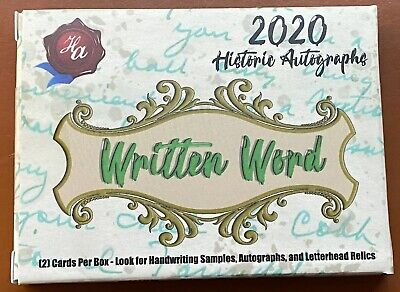 2020 Historic Autographs Written Words Hobby Box Baseball Sealed 2 Hits Per Box