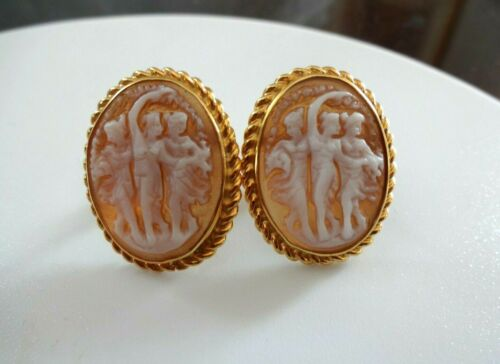 VINTAGE SHELL CAMEO EARRINGS  GOLD ON  SILVER