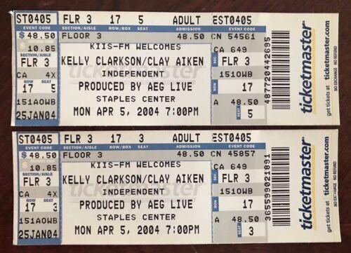 (2) KELLY CLARKSON & CLAY AIKEN 2004 Full Concert TICKETS American Idol STAPLES