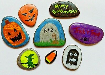 Painted River Rock Art Halloween Themed 8 Stones for Decoration Hiding or Gift - Halloween Themed Art