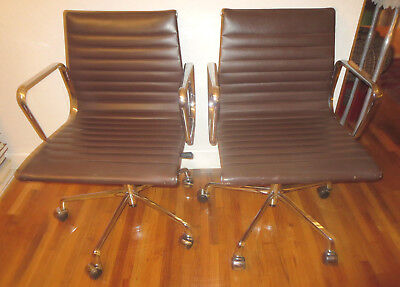 Used, 2  Brown Leather EAMES STYLE ALUMINUM GROUP MANAGEMENT CHAIR  for sale  Miami