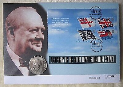 Centenary of Royal Naval Submarine Service Coin First Day Cover & Ensign Stamps