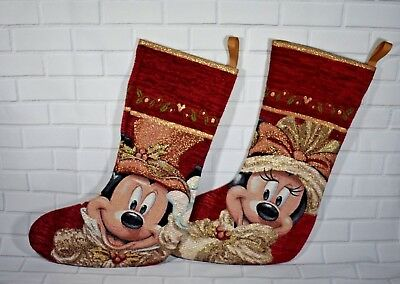 (Disney Parks Mickey & Minnie Mouse Red Victorian Christmas Holiday Stocking)