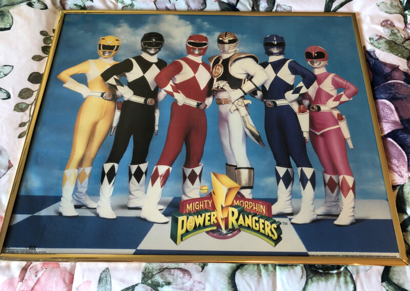 "Vintage 1994 Mighty Morphin Power Rangers Gold-Framed Poster 16"" x 20"""