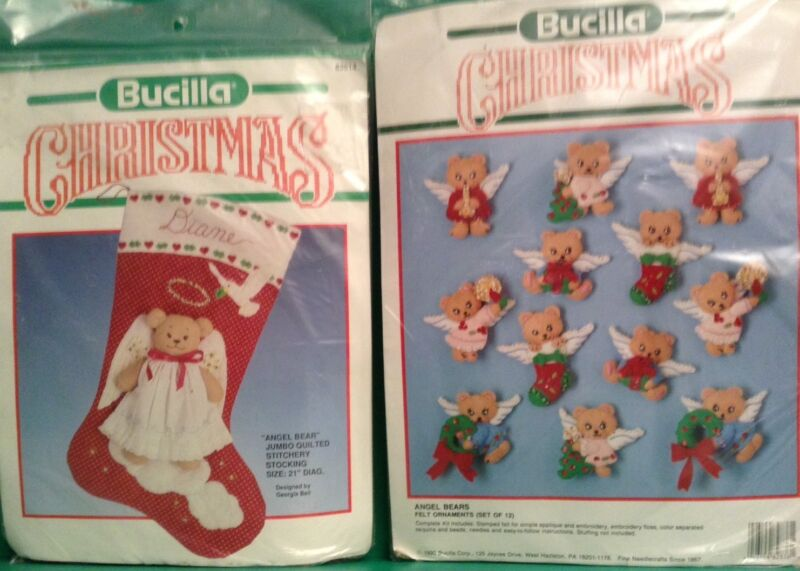 "Bucilla Christmas Felt""Angel Bear"" Quilted Stocking & ""Angel Bear""Ornaments Kits"