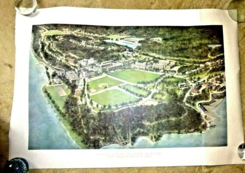 HUGE VINTAGE VIEW AERIAL MAP UNITED STATES MILITARY ACADEMY WEST POINT NY 1965