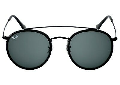 Ray-Ban RB3647N Round Double Bridge 002/R5 Black Frame/Blue Grey Classic Lenses (Ray Ban Rounded)