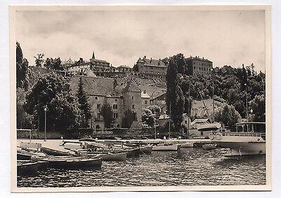 Photo ancienne thonon lac léman haute savoie port et château 1954 barque