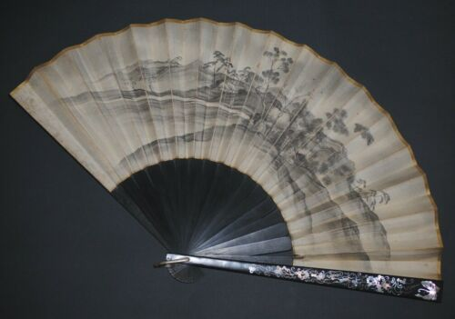 ANTIQUE JAPANESE MEIJI MOTHER OF PEARL INLAY STICKS HAND PAINTED LANDSCAPE FAN