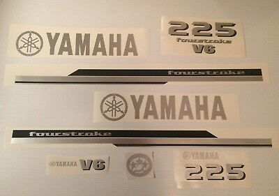 Yamaha 225hp V6 Outboard Engine Decal Kit   this set 225  by request  200-300